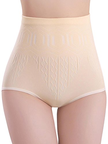 Bluefringe Women Seamless High Waist Body Shaper Tummy Control Panties Abdomen Underwear Apricot