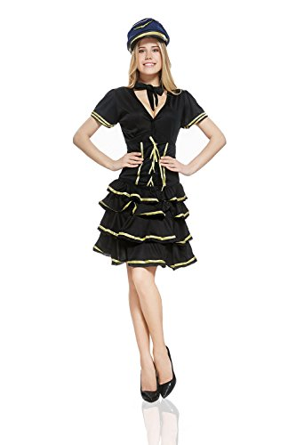Gown Short Sleeved Costumes (Adult Women Sexy Stewardess Halloween Costume Air Hostess Dress Up & Role Play (Standard+))