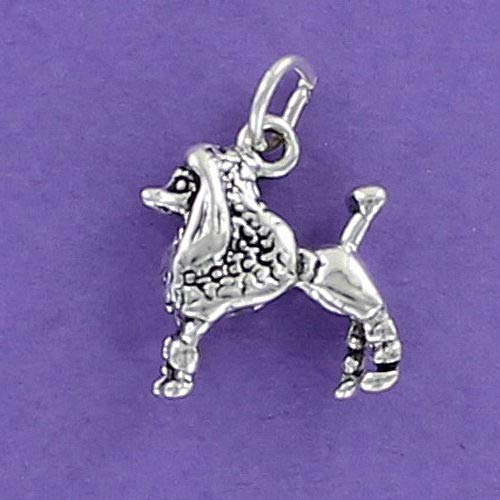 Pendant Jewelry Making Poodle Dog Charm Sterling Silver for Charm Bracelet Fifi French Toy Standard