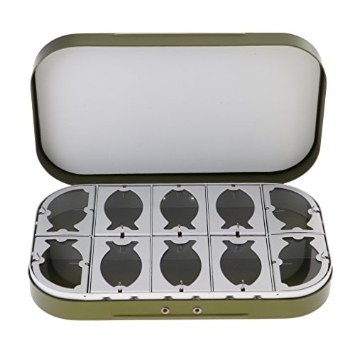 loy 10 Compartments Fly Fishing Box Flies Lures Box 10 Clear Windows - Green ()