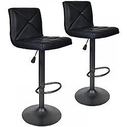 BestOffice Black 2 PU Leather Modern Adjustable Swivel Barstools Hydraulic Chair Bar Stools