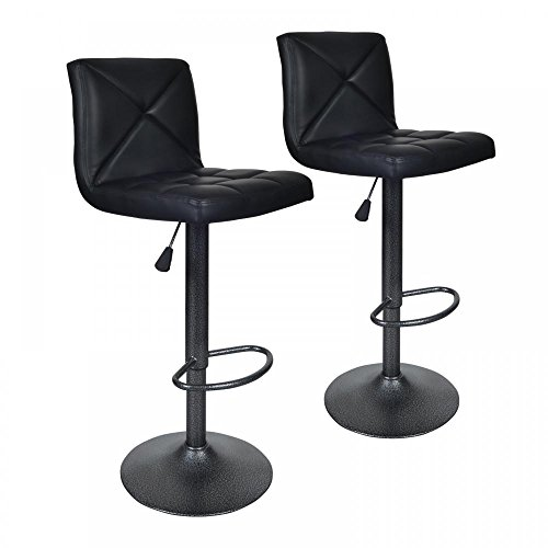 BestOffice Black 2 PU Leather Modern Adjustable Swivel Barstools Hydraulic Chair Bar Stools ()