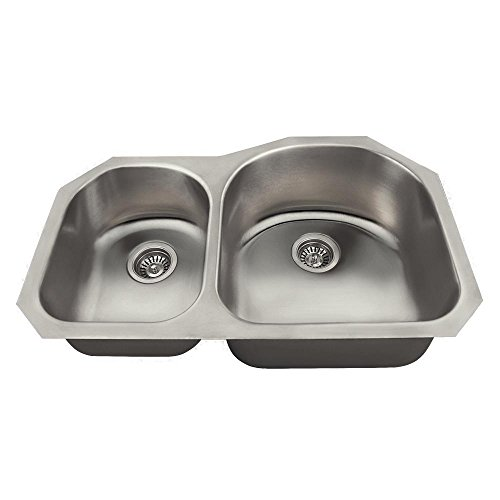 US1031R 18-Gauge Undermount Offset Double Bowl Stainless Steel Kitchen Sink by MR Direct (Image #9)