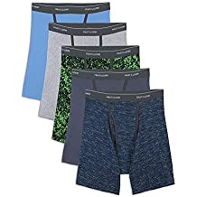 Fruit of the Loom Men's No Ride Up Boxer Brief Multipacks, Colors may vary