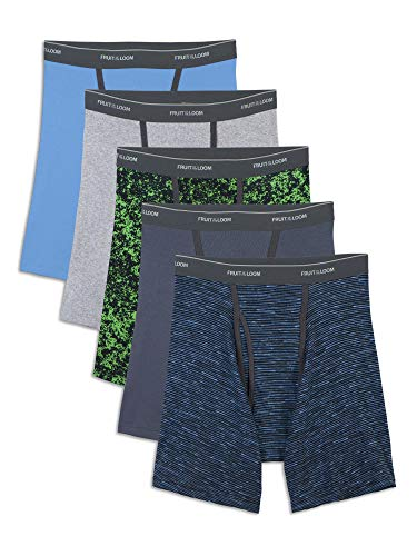 Fruit of the Loom Men's No No Ride Up Boxer Brief, Assorted Ringer (5-Pack), Large (Fruit Of The Loom Trunk Boxer Briefs)