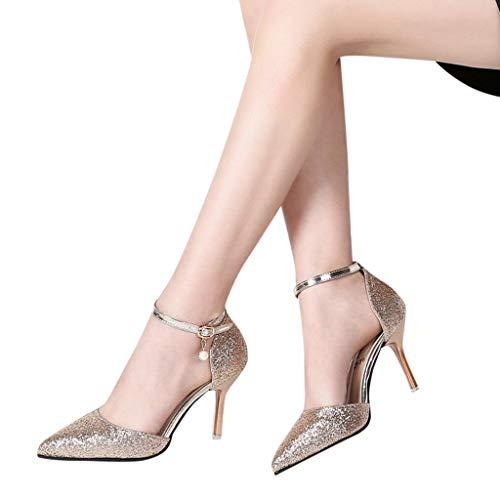 Haut Paillettes Pointue Or À Bling Pendentif Tissu Talon Sandales Aiguilles Escarpin Perle De Chaussures Femme Fantaisiez Décontracté ArgentOrNoir m80nvNw