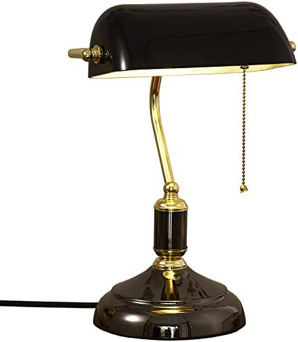 Bankers Lamp,Vintage Table Lamp Traditional Pull Chain Switch Retro Brass Finish Gold Desk Lamp