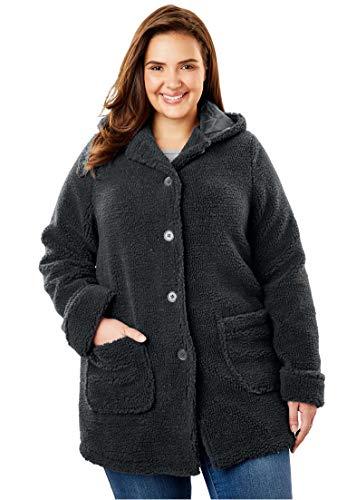 Woman Within Women's Plus Size Hooded Berber Jacket -