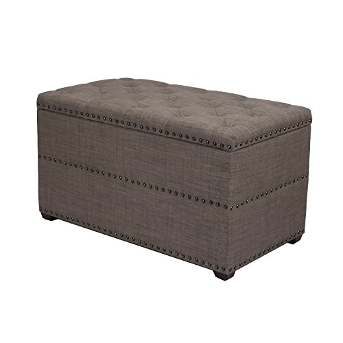 ELEGAN Stylish Button Tufted Lift Top Storage Ottoman Bench Foot Rest Seat with Solid Wood Legs (Dark Brown)