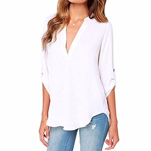 La camiseta OL de las mujeres atractivas cubre la gasa larga ocasional S-5XL de la manga de las tapas de OL White