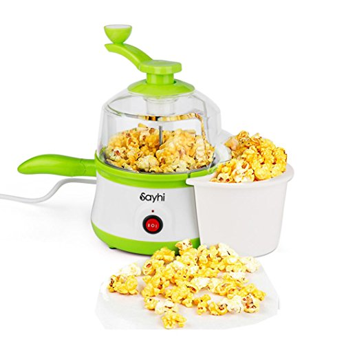 Popcorn Maker, Balakie Multifunction 3 in 1 Steamer&Fry Pan&Popcorn Machine, Popper Popcorn Maker Stir Popper with 1 Bag Extra Free Niblet (Green)