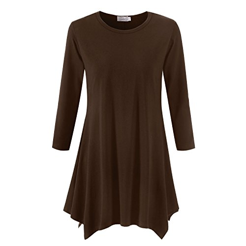 Topdress Women's Swing Tunic Tops 3/4 Sleeve Loose T-Shirt Dress Coffee S