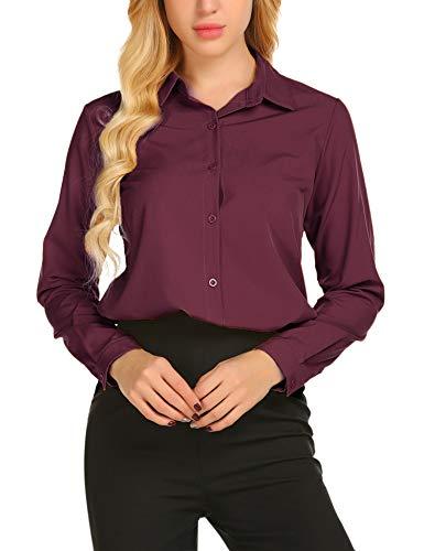 SE MIU Women's Chiffon Long Sleeve Polka Dot Office Button Down Blouse Shirt Tops Wine Red ()