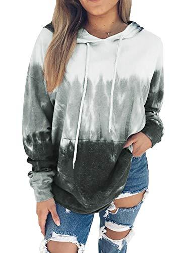 Biucly Womens Tie Dye Printed Hoodies Long Sleeve Pullover Drawstring Sweatshirt with Pocket