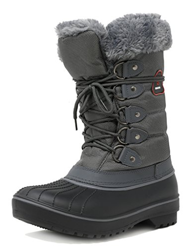 DREAM PAIRS Women's DP-Canada Grey Faux Fur Lined Mid Calf Winter