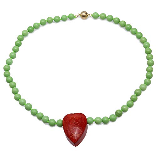JYX Turquoise Necklace 8-8.5mm Green Round Turquoise Beads dotted a Red Heart-shape Coral Pendant Single-strand Necklace AAA Handmade Gemstone
