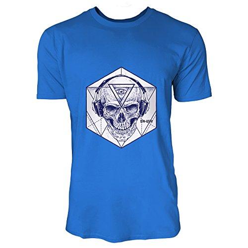 17f98d28327048 SINUS ART® Hipster Totenkopf mit Kopfhörer und Hexagon Herren T-Shirts in  Blau Fun