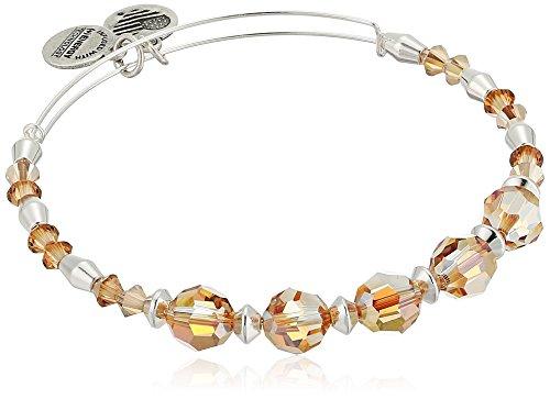 (Alex and Ani Swarovski Crystal Beaded, Glow II Bangle Bracelet- Shiny Silver)