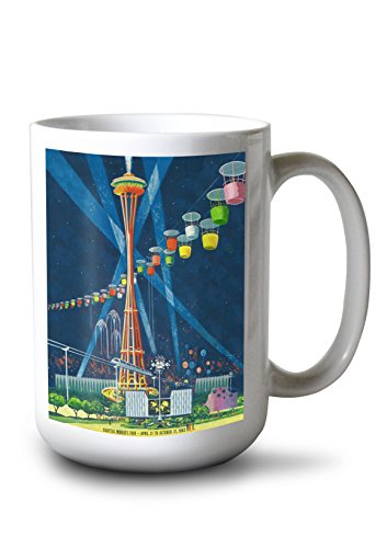 (Lantern Press Seattle, Washington - Space Needle Worlds Fair - Vintage Travel Advertisement (15oz White Ceramic)