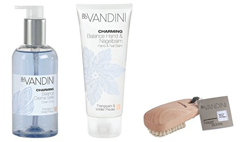 Hand Care Giftset Imported From Germany Includes Hand & Nail Lotion Hand Soap with Exfoliating Nail Brush Vegan Paraben Free Alluring scent of Wild Lilac & Frangipani by CHARMING aldo Vandini