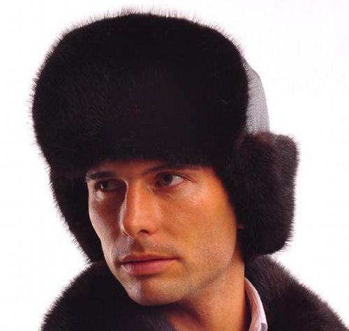 URSFUR Men's Mink Fur & Leather Russian Ushanka Hats Multicolor (Black) by URSFUR