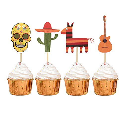 LUOEM 8pcs Mexican Fiesta Cake Toppers Cactus Guitar Cupcake Toppers Fiesta Party Cake Decorations for Hawaiian Tropical Birthday Wedding Day of The Dead Halloween Party Supplies ()