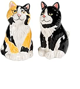 Rescue Me Now Ceramic Calico Cat Salt and Pepper Shaker Set