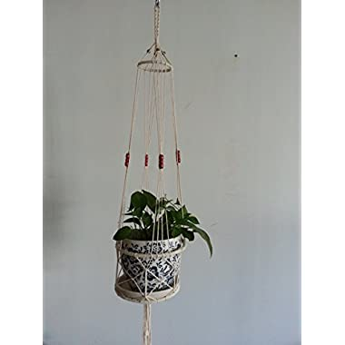 4 Legs Macrame Cotton Plant Holders with Bamboo Ring Inside and Brown Wood Bead Decoration . Natural Color, 31-inches Length