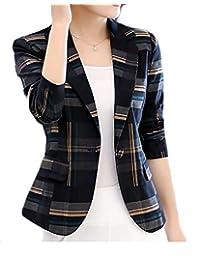 CRYYU-Women Boyfriend Blazer Slim Fit Plaid One-Button Blazer Jacket