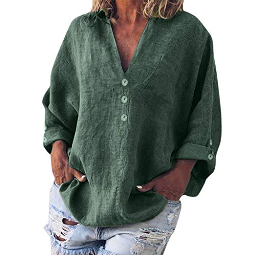 (TUSANG Women Tees Fashion Plus Size Solid Casual Linen V-Neck Button Blouse T-Shirt Loose Flowy Comfy)
