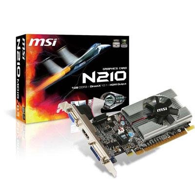 MSI Video Card GeForce 210 1GB 64-bit (N210-MD1G/D3) DDR3 PCI Express 2.0 x16 HDCP Ready Low Profile Ready