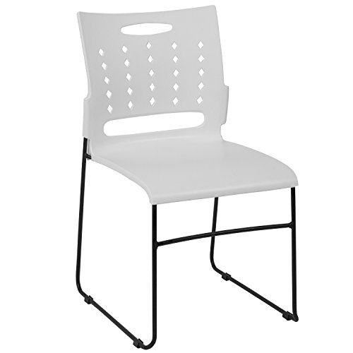 Sled Base Stack Chair - Flash Furniture HERCULES Series 881 lb. Capacity White Sled Base Stack Chair with Air-Vent Back