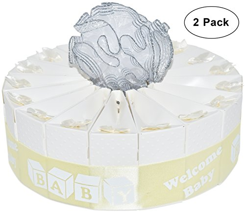 1 Tier White Baby Shower Favor Bags Cake Kit 2 Pack Includes 20 Favor Boxes Welcome Baby Shower Party Crafts Supplies Decorations Table Centerpieces for Newborn Boys & Girls Gender Reveal Games
