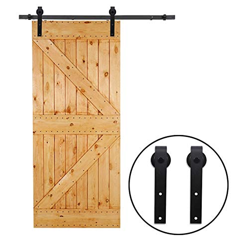 CCJH 4FT Heavy Duty Sturdy Sliding Barn Door Hardware Kit for Single Door J Shape Smoothly and Quietly