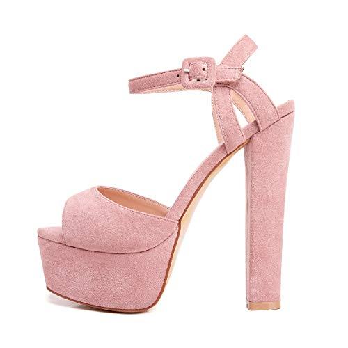 Onlymaker Women's Platform Chunky High Heels Faux Suede Ankle Strap Peep Toe Sandal Pumps Dress Party Shoes Pink 10 M US
