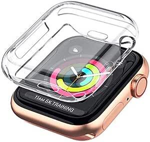 جراب قطعة واحدة لساعة Apple Watch Series 5 4 3 2 واقي شاشة 42 مم، غطاء حماية شفاف ناعم من مادة TPU لجميع الأنحاء لسلسلة iWatch 5 Series 4 Series 3 Series 2