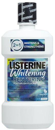 Listerine Whitening Plus Restoring Fluoride Rinse-Clean Mint-32 oz