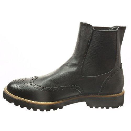 Angkorly - Zapatillas de Moda Botines chelsea boots altas mujer perforado Talón Tacón ancho 3 CM - Negro