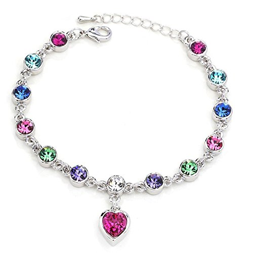 Love Heart Fashion Crystal Bracelet for Women and Teens Adjustable Hand Chain Color Fine Jewelry Gift (Sliver-Colourful)