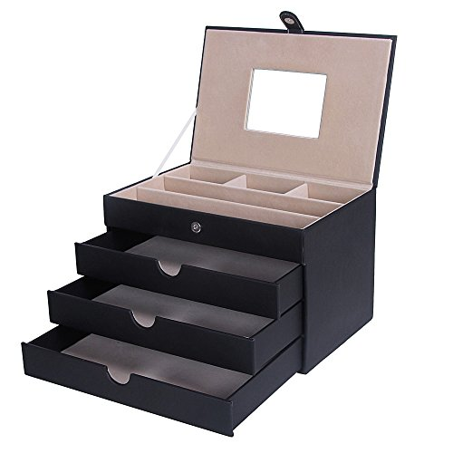 SONGMICS Jewelry Box Mirrored Jewelry Organizer Black Storage Case Drawers UJBC125C