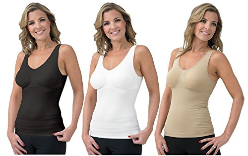 62a4c9264ccff8 Etail Cami Shaper with Built in Comfort Bra 3 in 1 Camisole Bra Shaper 3  Pack White Black Nude  Amazon.co.uk  Clothing