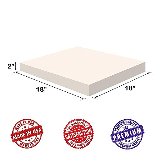 Upholstery Visco Memory Foam Square Sheet- 3.5 lb High Density 2x18x18- Luxury Quality For Sofa, Chair Cushions, Pillows, Doctor Recommended for Backache & Bed Sores by Dream Solutions USA