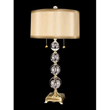 dale aurora crystal table lamp antique brass fabric shade vintage waterford lamps ebay nz