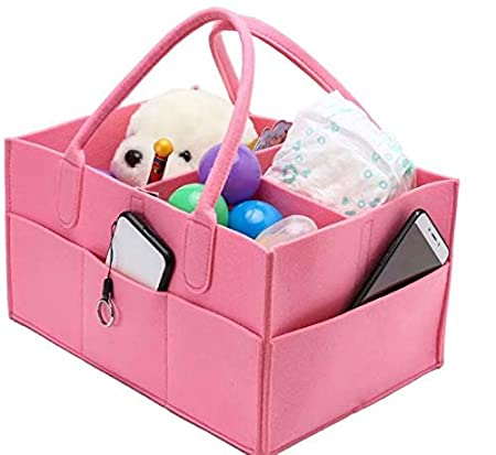 Baby Diaper Caddy Portable Changing Table Organiser Nursery Storage Bin Basket with Changeable Compartments Baby Wipes Bag