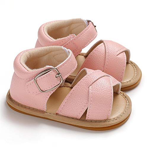 Isbasic Baby Pu Leather Sandals for Toddler Boy Girl Rubber Sole Anti-Slip Slippers Dress Shoes (12-18 Months, B-Pink) ()