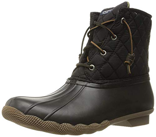 (Sperry Women's Saltwater Boot, Black Quilted Suede, 7 M US)