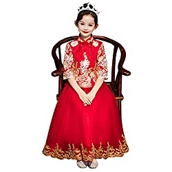 Girls Sequin Embroidery Long Sleeve Chinese Dress