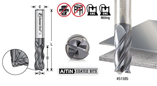 Amana Tool 51595 Solid Carbide Spiral Multi-Helix for Stainless Steel, Steel, Titanium, Cast Iron, Aluminum and Cermet with AlTiN Coating 4-Flute x 3/8 Dia x 7/8 Cut Height x 3/8 Shank x 2-1/2 Inches Long Up-Cut CNC Square Bottom End Mill