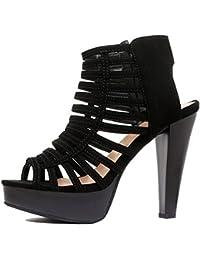 Womens Cutout Gladiator Ankle Strap Platform | High Block Heel Stiletto Sandals