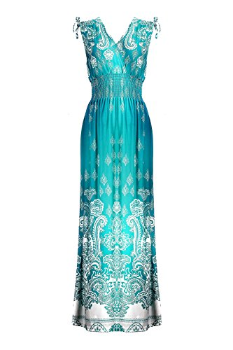 G2 Chic Women's Basic Casual Lounge Spring Summer Maxi Dress(DRS-MAX,LGN-L)